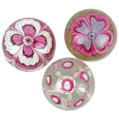 Fratelli Toso Murano Pink Flower Ribbons Italian Art Glass Paperweights