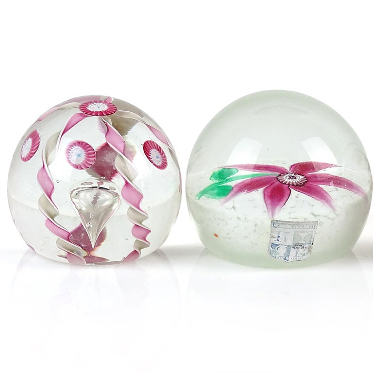 Hand-Crafted Fratelli Toso Murano Pink Flower Ribbons Italian Art Glass Vintage Paperweights For Sale