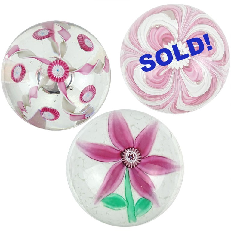 Priced per item (2 designs still available, as shown). Beautiful vintage Murano hand blown Italian art glass paperweights. Documented to the Fratelli Toso company. The first is a