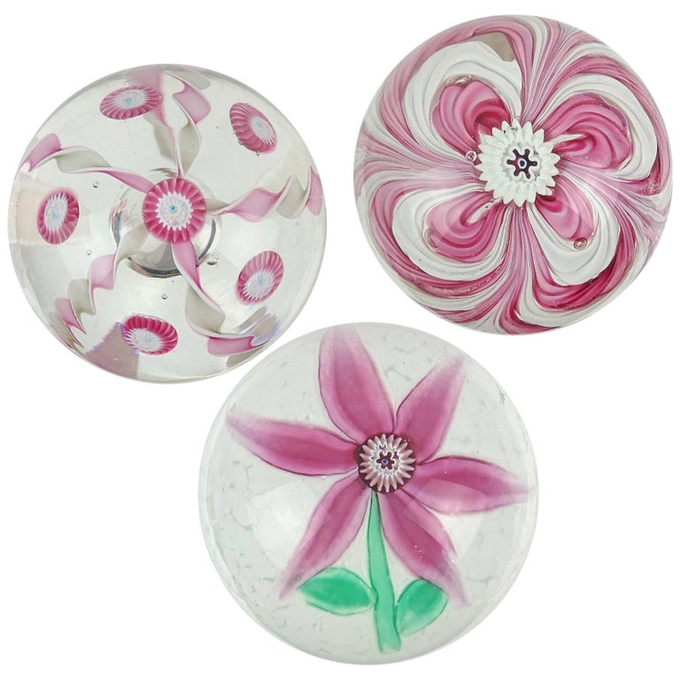 Fratelli Toso Murano Pink Flower Ribbons Italian Art Glass Vintage Paperweights For Sale