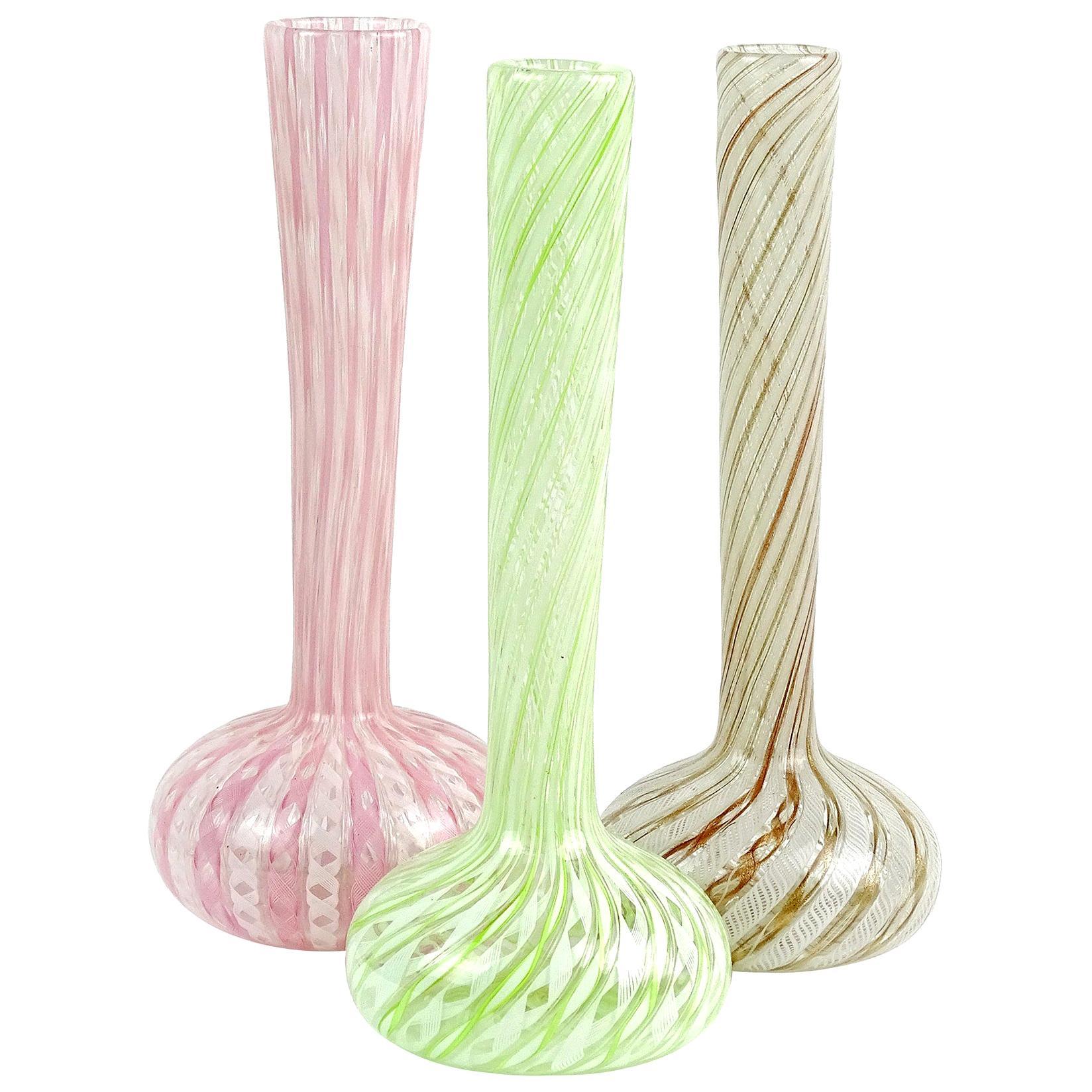 Fratelli Toso Murano Pink Green Copper Italian Art Glass Specimen Flower Vases