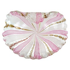 Fratelli Toso Murano Pink White Copper Zanfirico Ribbons Italian Art Glass Bowl