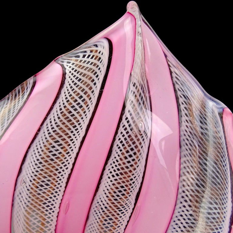 Hand-Crafted Fratelli Toso Murano Pink White Ribbons Italian Art Glass Fazzoletto Vases For Sale