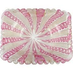 Fratelli Toso Murano Pink Zanfirico Ribbons Gold Flecks Italian Art Glass Bowl
