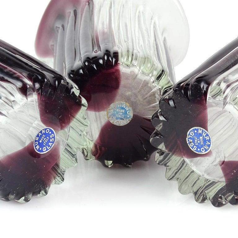 Fratelli Toso Murano lila Streifen italienische Glaskunst Scroll Rand Blumenvasen 6
