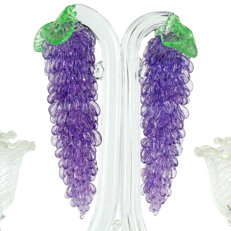 FratellI Toso Murano Purple Wisteria Flowers Italian Art Glass Candlestick In Good Condition For Sale In Kissimmee, FL