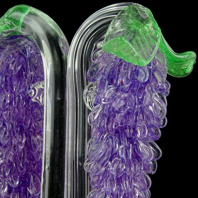 FratellI Toso Murano Purple Wisteria Flowers Italian Art Glass Candlestick For Sale 3
