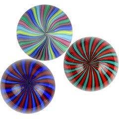 Fratelli Toso Murano Rainbow Blue Red Green Orange Italian Art Glass Paperweight