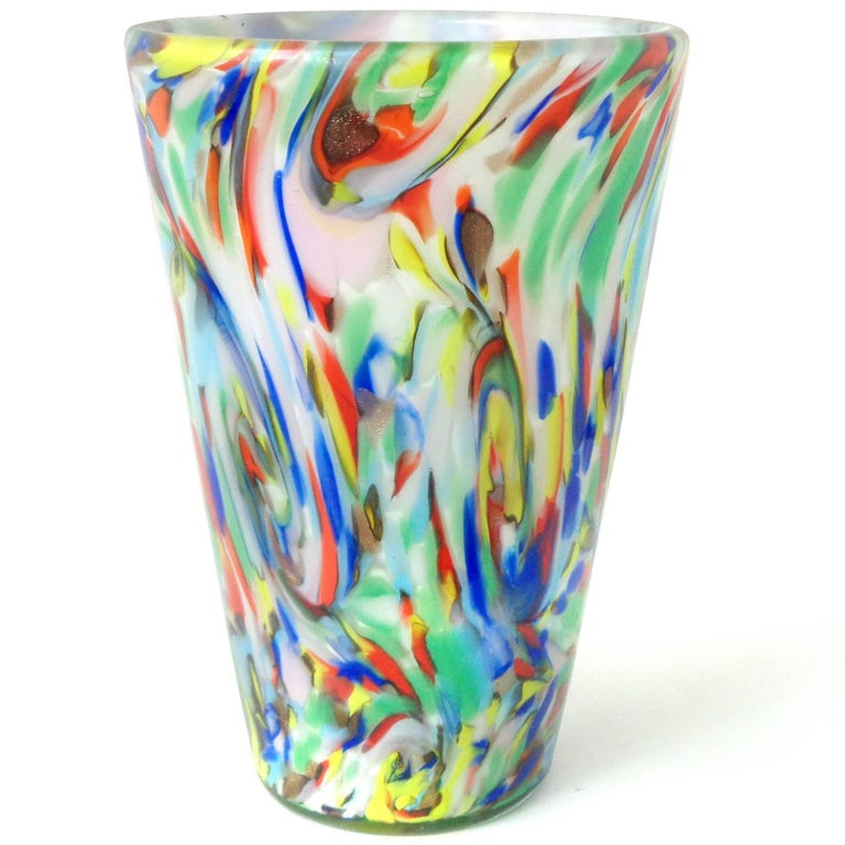 Mid-Century Modern Fratelli Toso Murano Rainbow Color Swirls Italian Art Glass Flower Vase For Sale