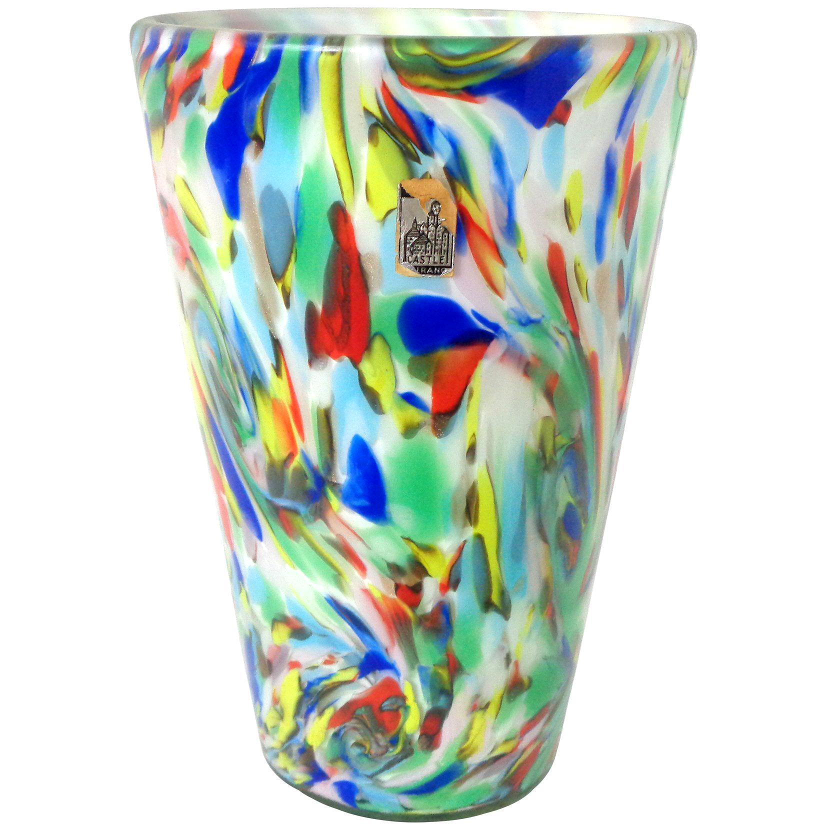 Fratelli Toso Murano Rainbow Color Swirls Italian Art Glass Flower Vase