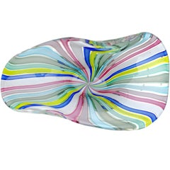Fratelli Toso Murano Rainbow Colors Filigrana Ribbons Italian Art Glass Bowl
