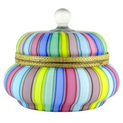 Fratelli Toso Murano Rainbow Ribbons Italian Art Glass Satin Vanity Jewelry Box