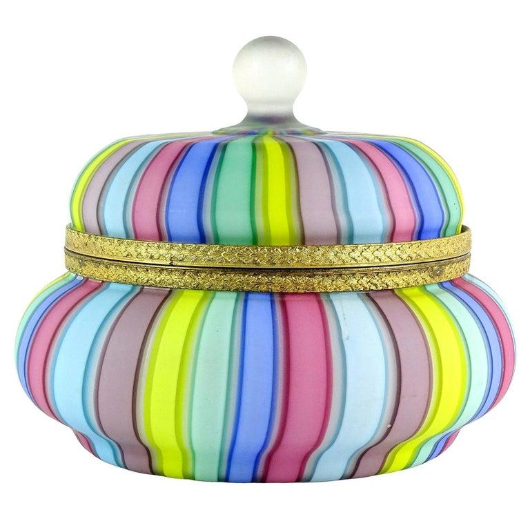 Fratelli Toso Murano Rainbow Ribbons Italian Art Glass Satin Vanity Jewelry Box For Sale