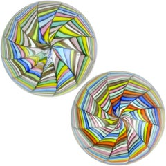 Fratelli Toso Murano Rainbow Stripes Ribbons Italian Art Glass Paperweights