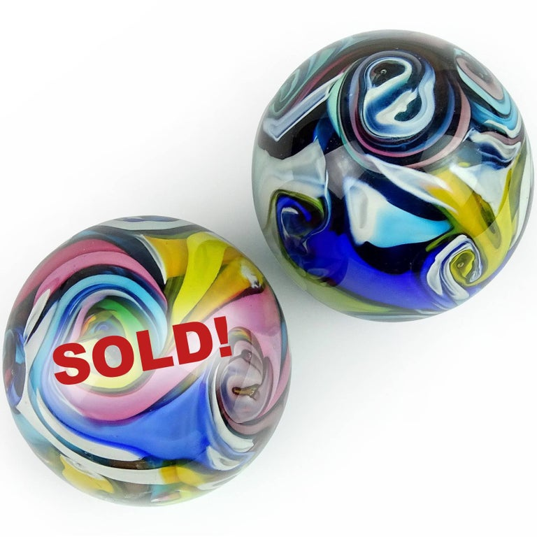 Light pink / yellow swirl has sold. Only 1 available.  Beautiful Murano handblown rainbow color swirls Italian art glass decorative paperweight. Documented to the Fratelli Toso company, in the