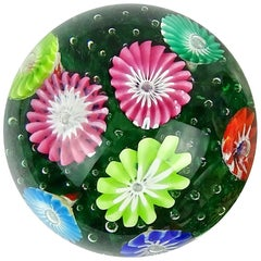 Fratelli Toso Murano Rainbow Wild Flower Garden Italian Art Glass Paperweight