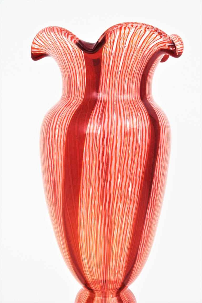 Italian Fratelli Toso Murano Red and White Ribbons Large Art Glass Vase For Sale