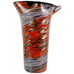 Fratelli Toso Murano Red Blue Copper Aventurine Italian Art Glass Flower Vase