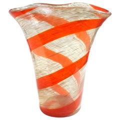 Fratelli Toso Murano Red Orange Stripe Aventurine Flecks Italian Art Glass Vase