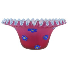 Fratelli Toso Murano Red Pink Millefiori Flowers Italian Art Glass Satin Bowl