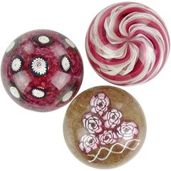 Fratelli Toso Murano Red Pink Millefiori Ribbons Italian Art Glass Paperweights