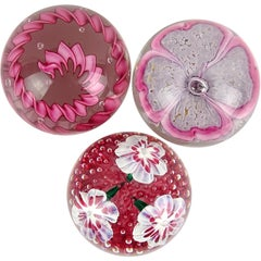 Fratelli Toso Murano Red Pink Millefiori Ribbons Italian Art Glass Paperweights