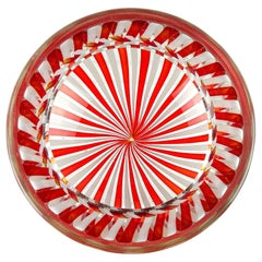 Fratelli Toso Murano Red White Ribbons Italian Art Glass Decorative Bowl Dish