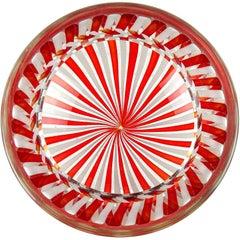 Fratelli Toso Murano Red White Ribbons Italian Art Glass Decorative Bowl Dish