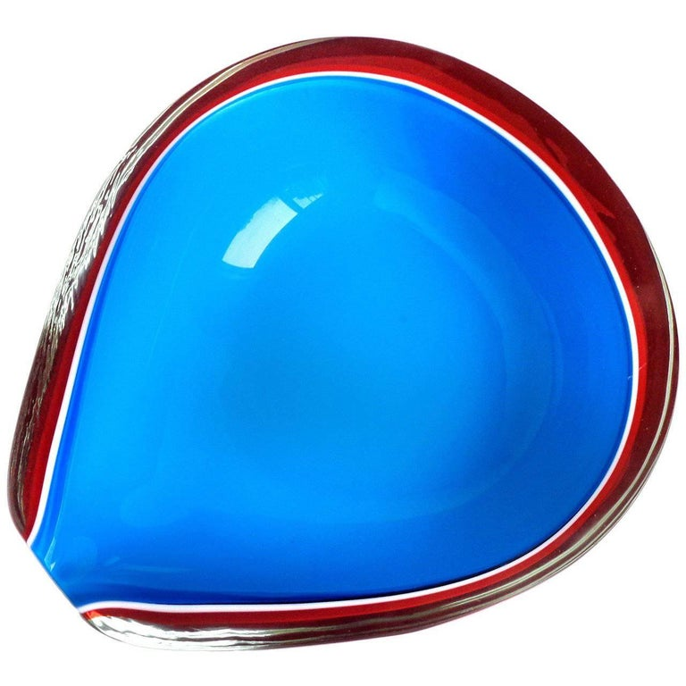 Fratelli Toso Murano Red, White and Blue Italian Art Glass Decorative Pear Bowl