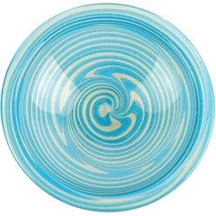 Fratelli Toso Murano Sky Blue Optic Swirl Gold Flecks Italian Art Glass Bowl
