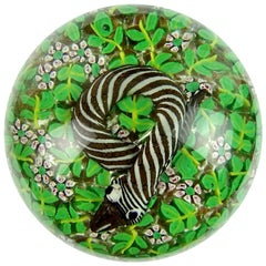 Fratelli Toso Murano Striped Snake in Wild Flowers Italian Art Glass Paperweight