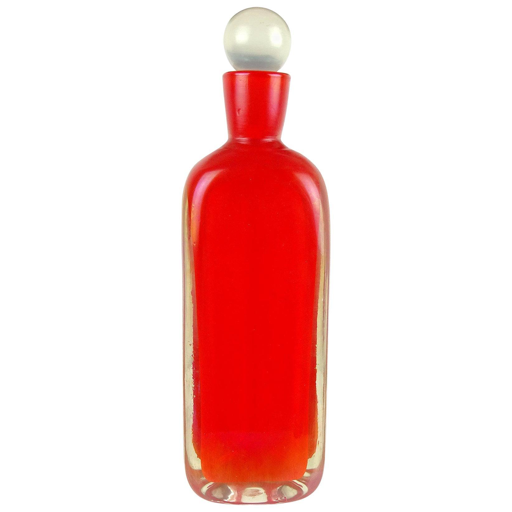 Fratelli Toso Murano Triangle Orange Iridescent Italian Art Glass Decanter