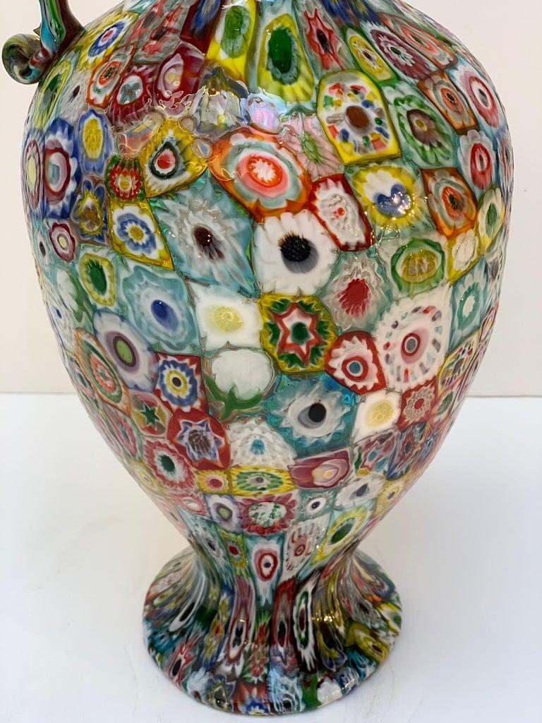 Fratelli Toso Murano Venice Italy Art Nouveau Blown Glass Millefiori Vase For Sale 4