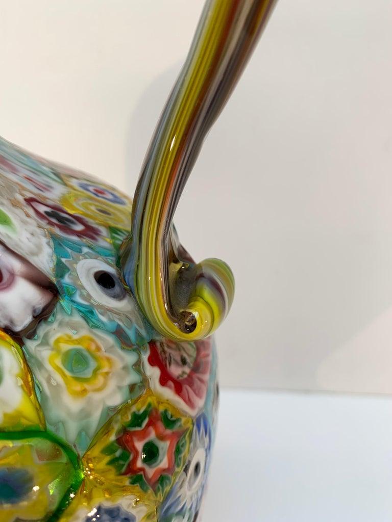 Fratelli Toso Murano Venice Italy Art Nouveau Blown Glass Millefiori Vase For Sale 5