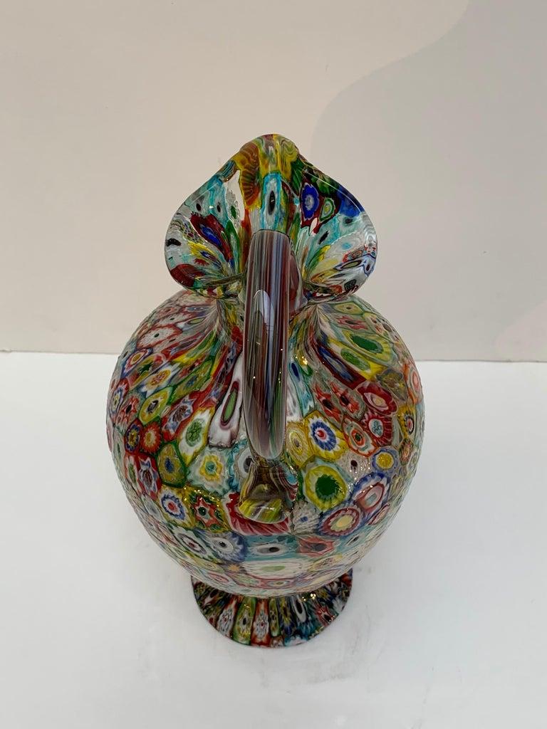 Fratelli Toso Murano Venice Italy Art Nouveau Blown Glass Millefiori Vase For Sale 6
