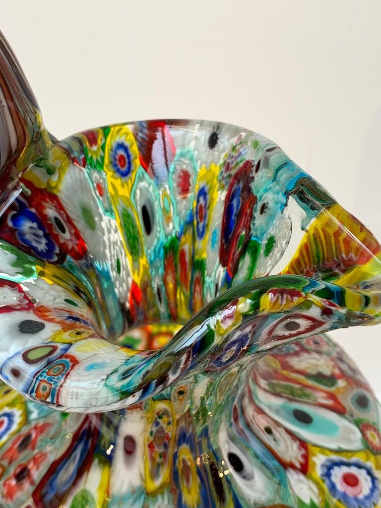 Fratelli Toso Murano Venice Italy Art Nouveau Blown Glass Millefiori Vase For Sale 7