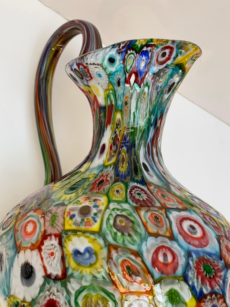 Fratelli Toso Murano Venice Italy Art Nouveau Blown Glass Millefiori Vase For Sale 9
