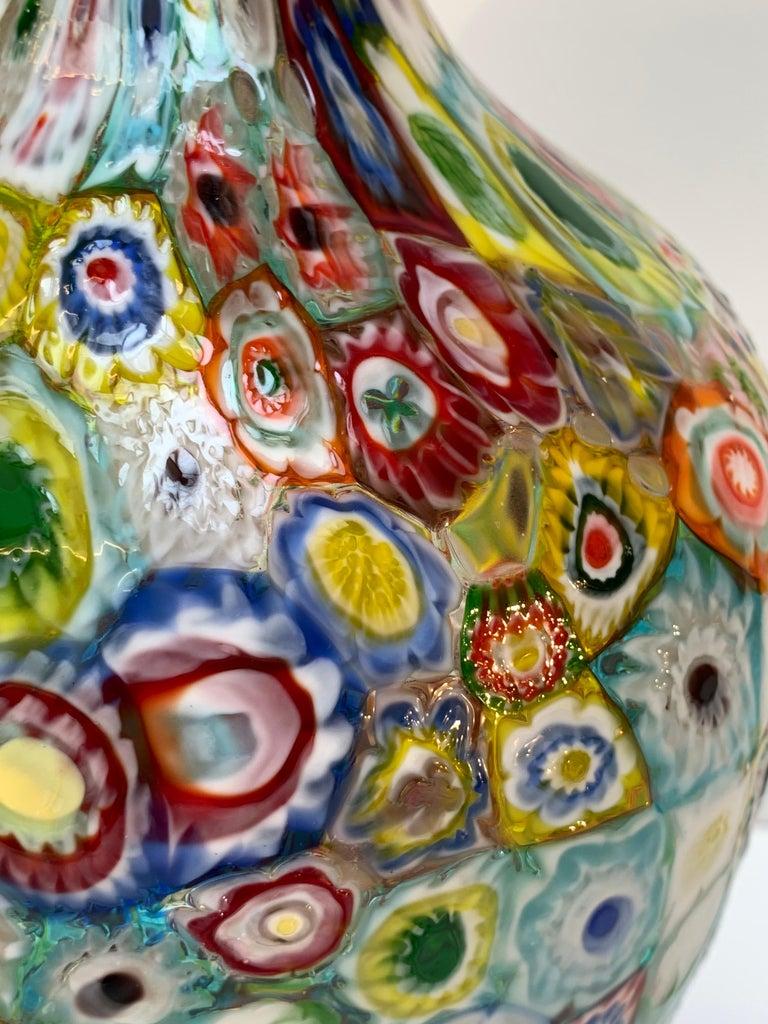 Fratelli Toso Murano Venice Italy Art Nouveau Blown Glass Millefiori Vase For Sale 10