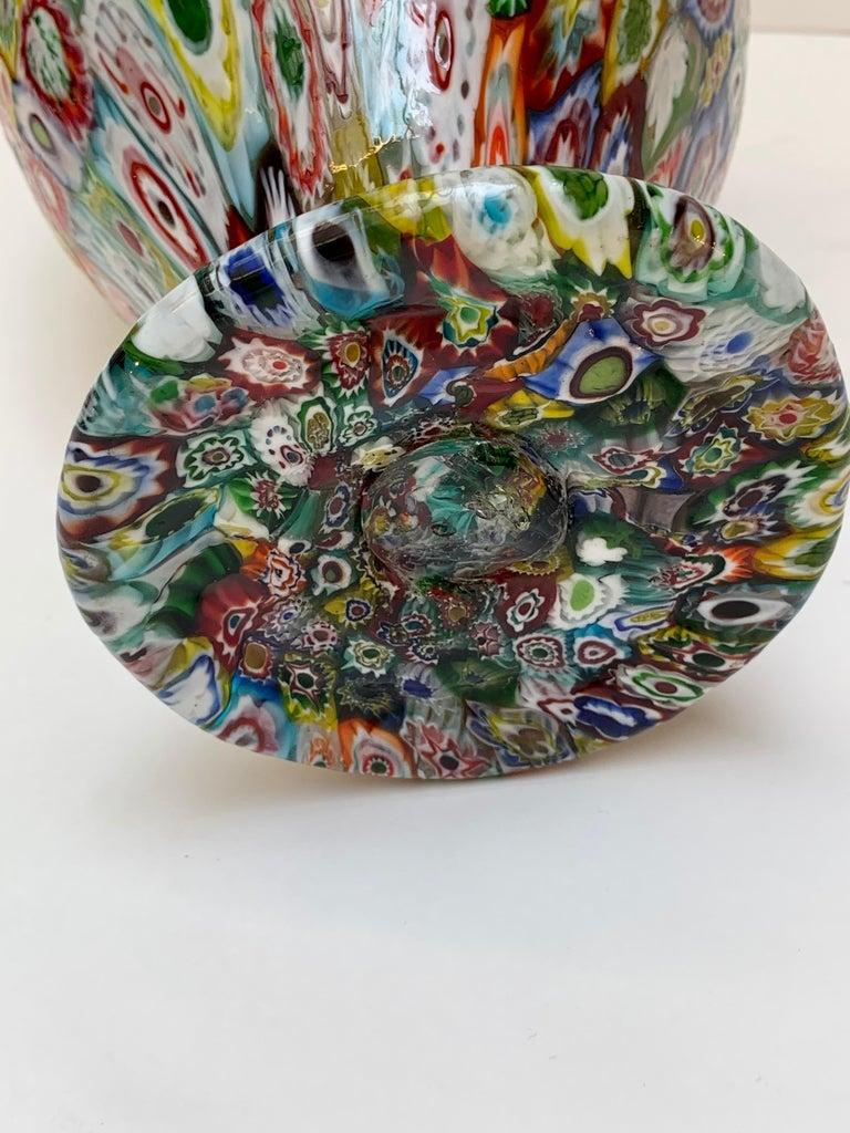 Fratelli Toso Murano Venice Italy Art Nouveau Blown Glass Millefiori Vase For Sale 12