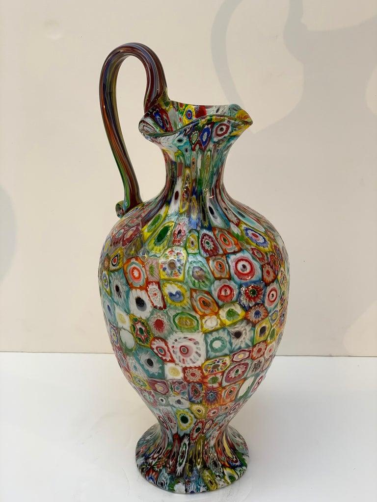 Italian Fratelli Toso Murano Venice Italy Art Nouveau Blown Glass Millefiori Vase For Sale