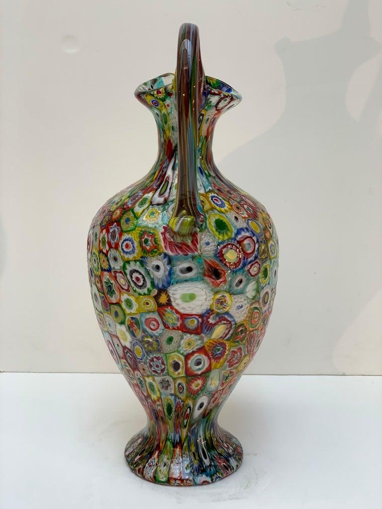 Fratelli Toso Murano Venice Italy Art Nouveau Blown Glass Millefiori Vase In Good Condition For Sale In Firenze, IT