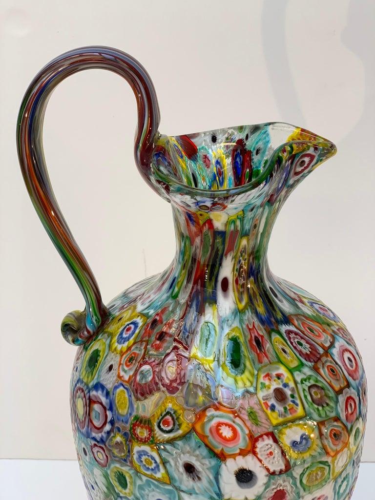 Murano Glass Fratelli Toso Murano Venice Italy Art Nouveau Blown Glass Millefiori Vase For Sale