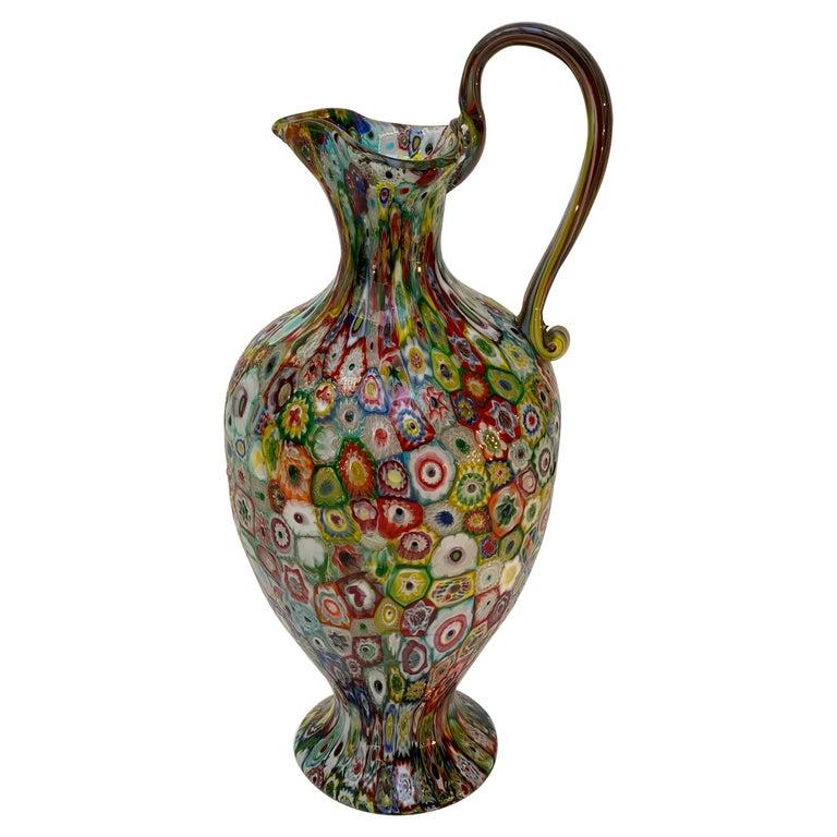 Fratelli Toso Murano Venice Italy Art Nouveau Blown Glass Millefiori Vase For Sale