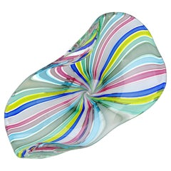 Fratelli Toso Murano Vintage Rainbow Colors Ribbons Italian Art Glass Bowl