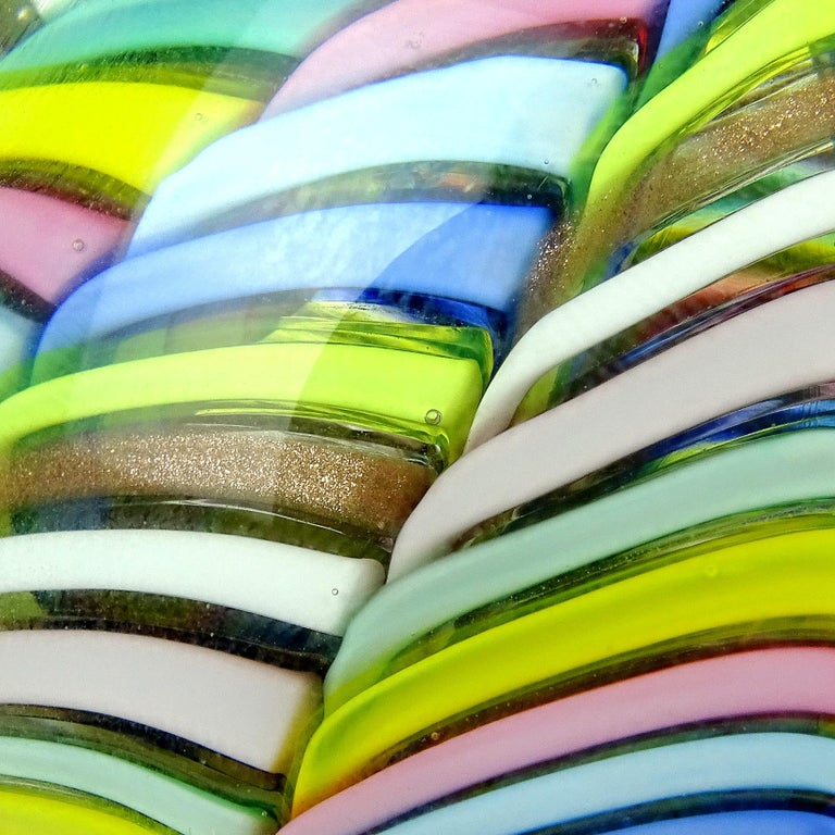 Mid-Century Modern Fratelli Toso Murano Vintage Rainbow Stripe Ribbon Italian Art Glass Paperweight For Sale