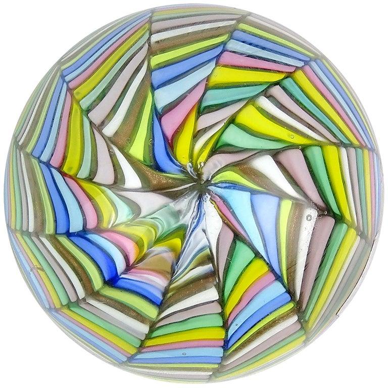 Fratelli Toso Murano Vintage Rainbow Stripe Ribbon Italian Art Glass Paperweight For Sale
