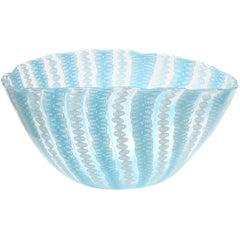 Fratelli Toso Murano White Blue Zanfirico Ribbons Italian Art Glass Bowl Vase
