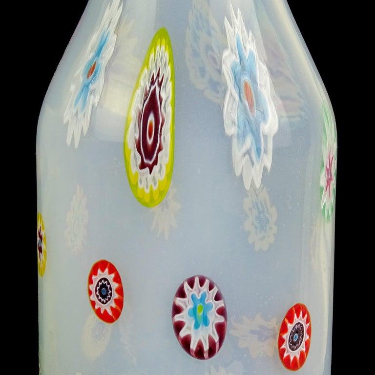 Mid-Century Modern Fratelli Toso Murano White Opalescent Flower Murrine Italian Art Glass Decanter For Sale