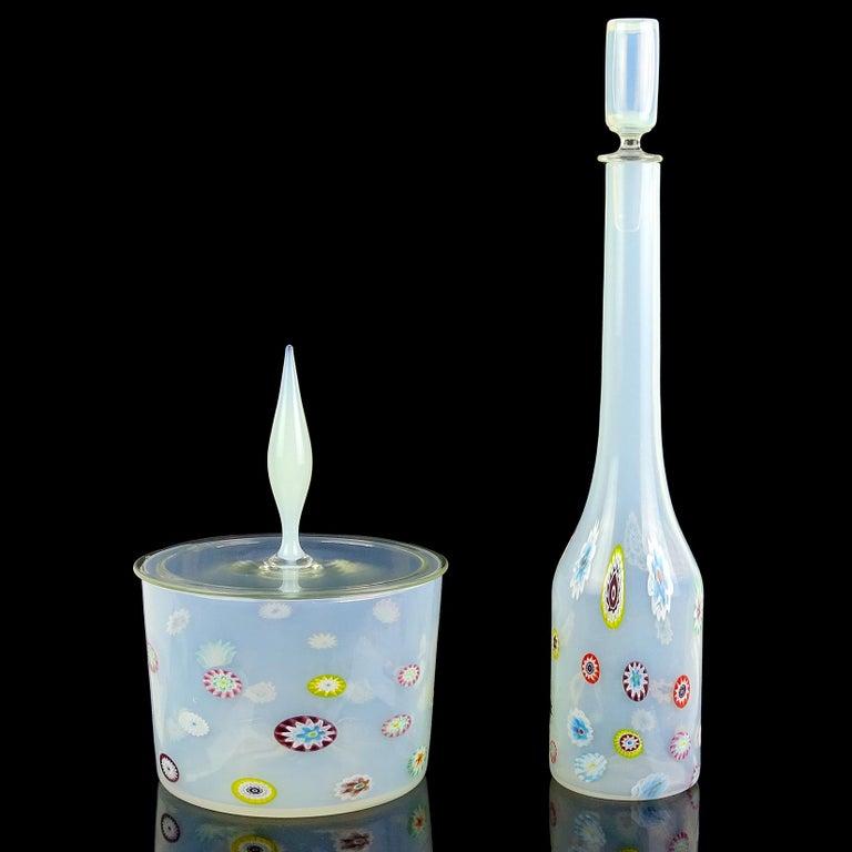 20th Century Fratelli Toso Murano White Opalescent Flower Murrine Italian Art Glass Decanter For Sale