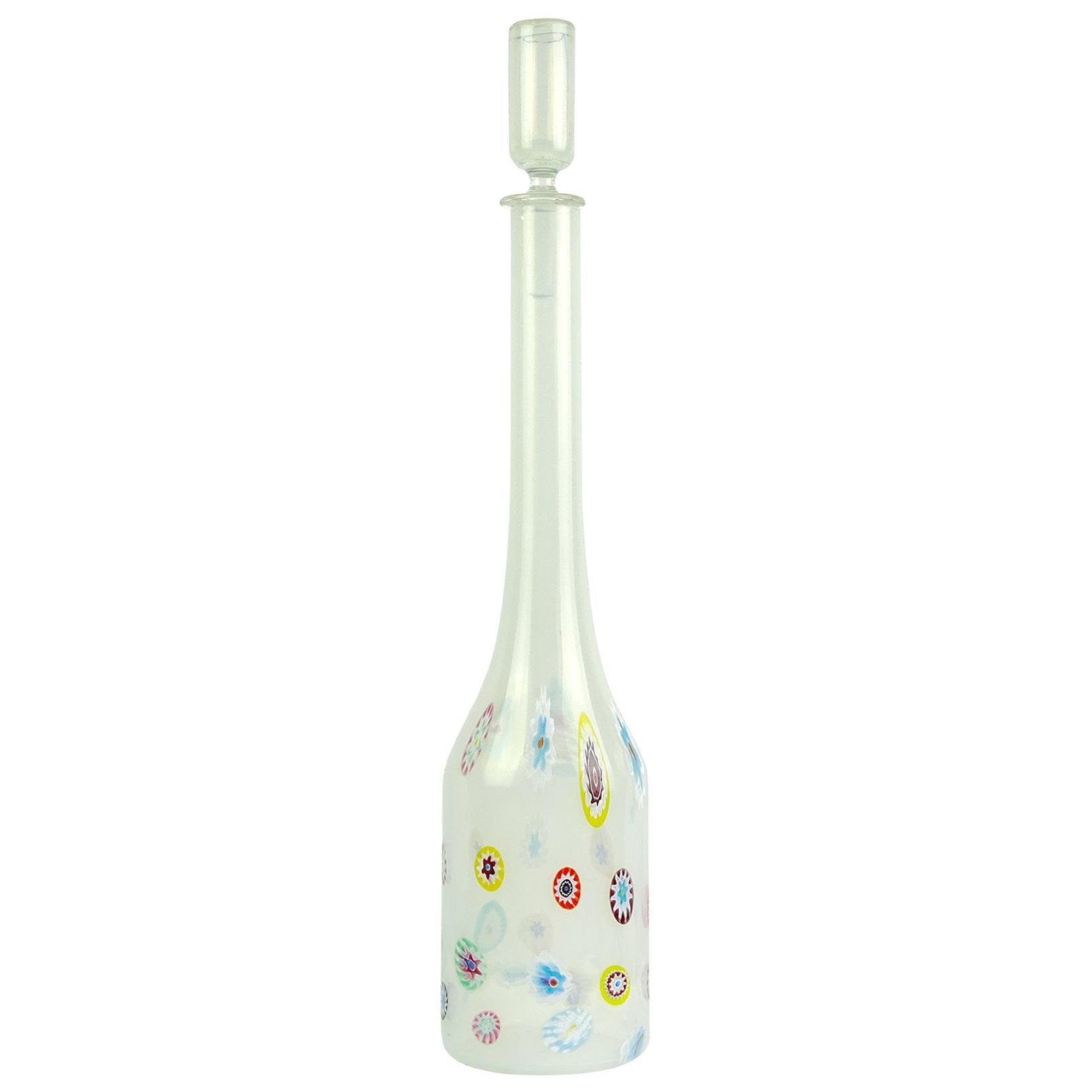 Fratelli Toso Murano White Opalescent Flower Murrine Italian Art Glass Decanter